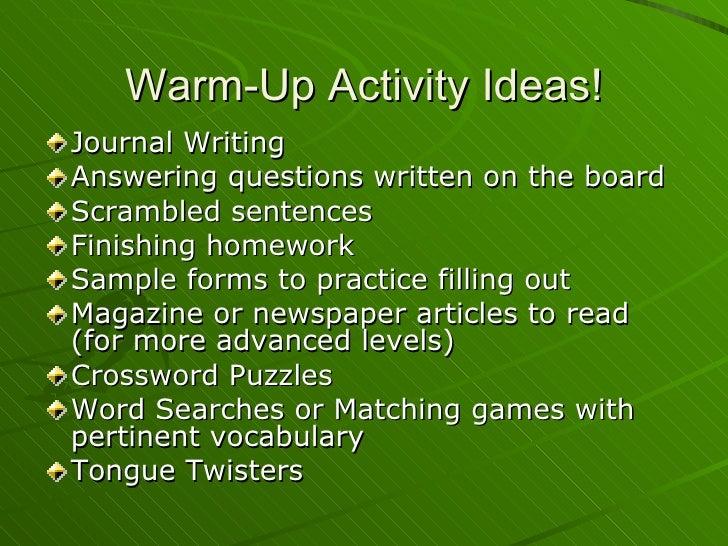 Classroom Warm Up Ideas ~ Teacher training lesson planning presentation jan