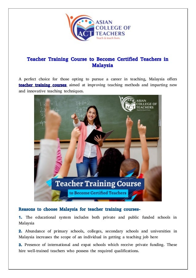 Teacher Training Course To Become Certified Teachers In Malaysia
