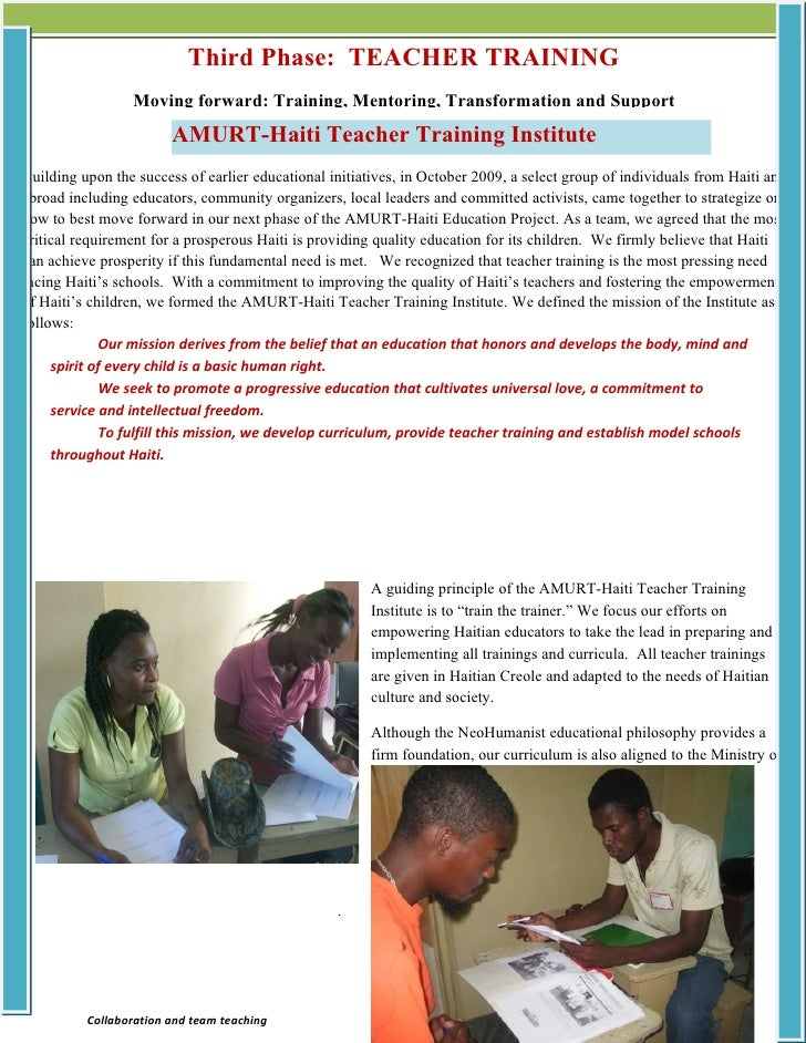 Third Phase: TEACHER TRAINING                  Moving forward: Training, Mentoring, Transformation and Support            ...
