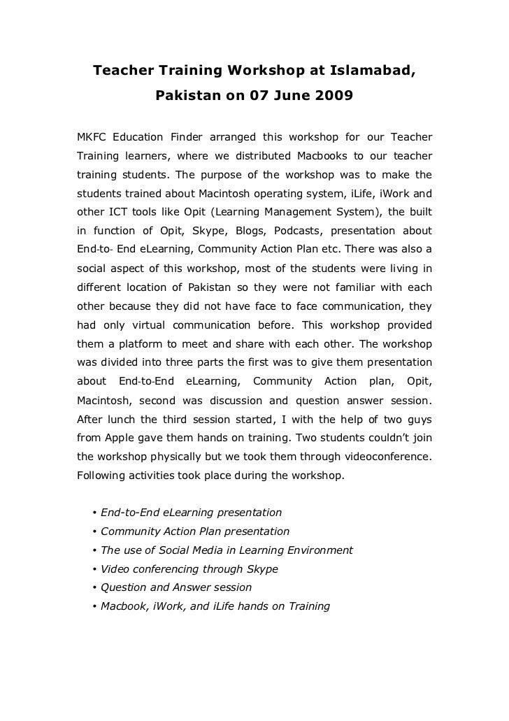 Teacher Training Workshop at Islamabad,                 Pakistan on 07 June 2009MKFC Education Finder arranged this worksh...