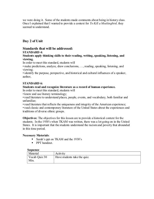 Teacher work sample – To Kill a Mockingbird Vocabulary Worksheet
