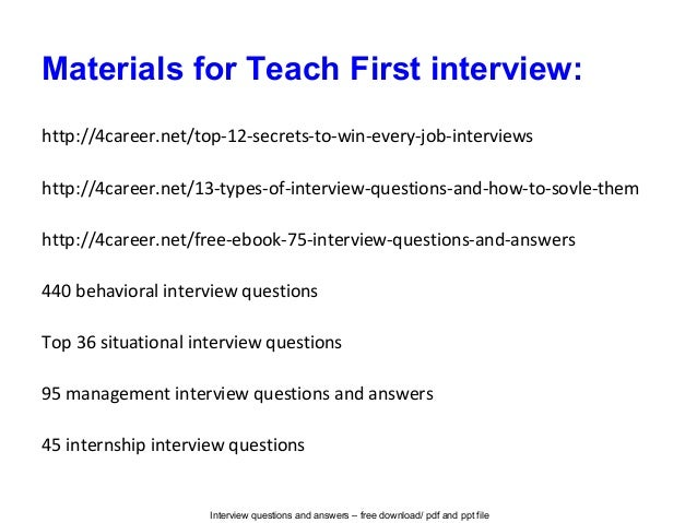 Teach first interview questions and answers
