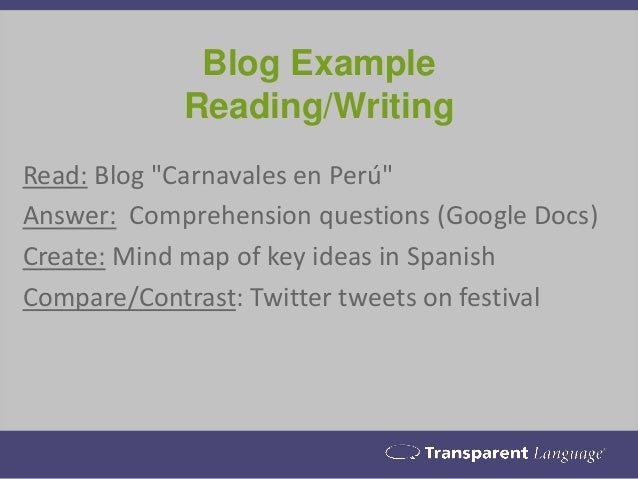 """Blog Example Reading/Writing Read: Blog """"Carnavales en Perú"""" Answer: Comprehension questions (Google Docs) Create: Mind ma..."""