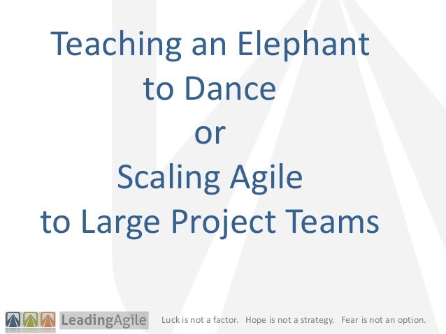Luck is not a factor. Hope is not a strategy. Fear is not an option.Teaching an Elephantto DanceorScaling Agileto Large Pr...