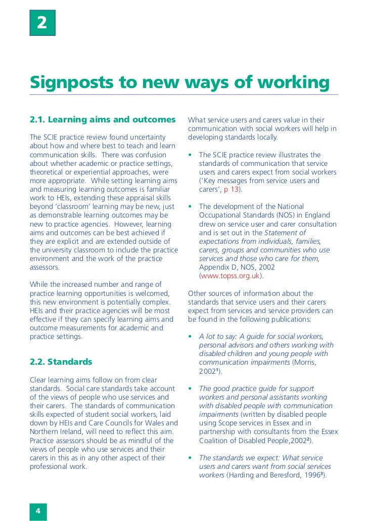 Teaching and learning communication skills in social work education  2Signposts to new ways of working2.1. Learning aims a...