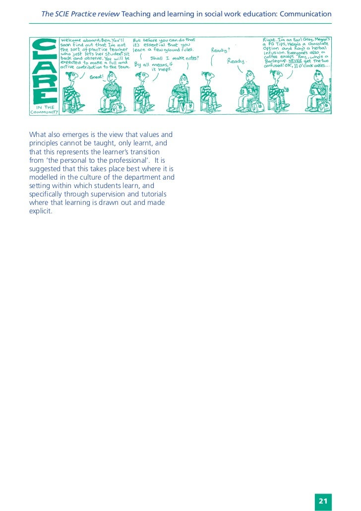 The SCIE Practice review Teaching and learning in social work education: CommunicationWhat also emerges is the view that v...