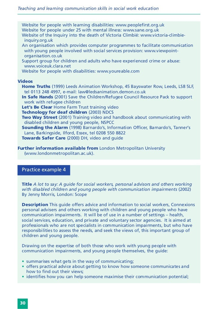 Teaching and learning communication skills in social work education  Website for people with learning disabilities: www.pe...