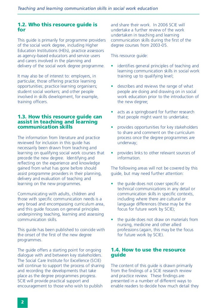 Teaching and learning communication skills in social work education1.2. Who this resource guide is                     and...