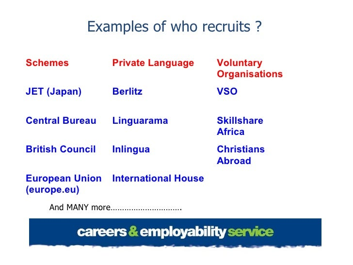 Examples of who recruits ?