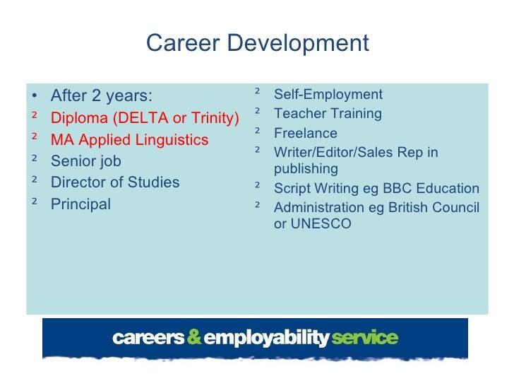 Career Development <ul><li>After 2 years: </li></ul><ul><li>Diploma (DELTA or Trinity) </li></ul><ul><li>MA Applied Lingui...