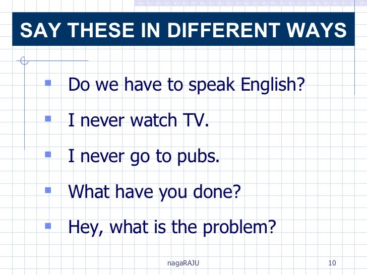<ul><li>Do we have to speak English?  </li></ul><ul><li>I never watch TV. </li></ul><ul><li>I never go to pubs. </li></ul>...