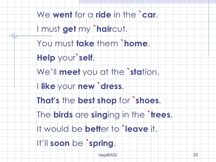 We  went  for a  ride  in the  ` car . I must  get  my  ` hair cut. You must  take  them  ` home . Help  your ` self . We'...