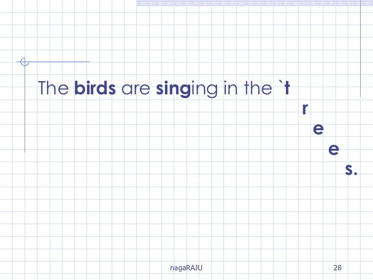 The  birds  are  sing ing in the ` t   r   e   e   s.