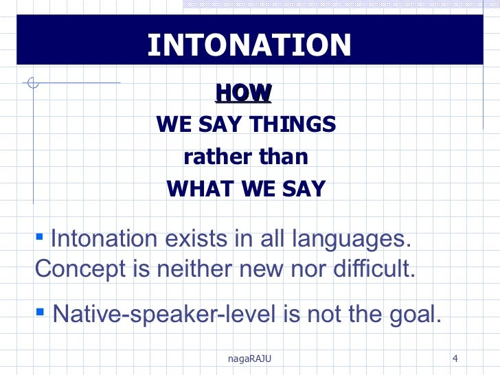INTONATION HOW   WE SAY THINGS rather than WHAT WE SAY <ul><li>Intonation exists in all languages.  Concept is neither new...