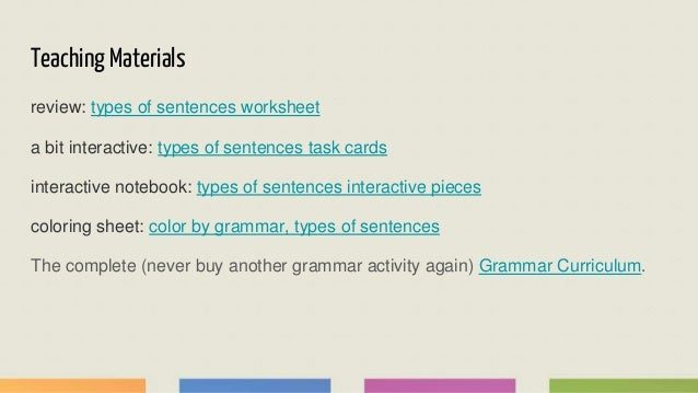 Teaching Grammar Types Of Sentences