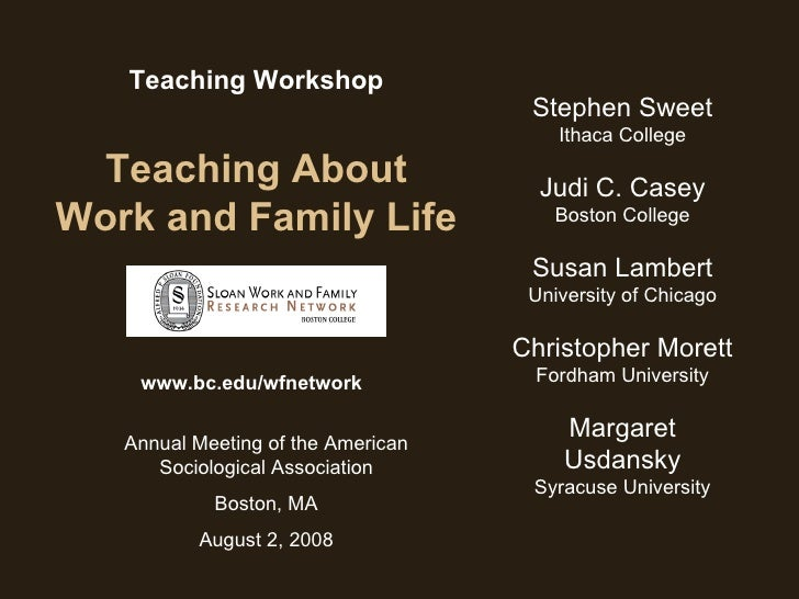 Teaching Workshop Teaching About Work and Family Life www.bc.edu/wfnetwork Stephen Sweet Ithaca College Judi C. Casey Bost...