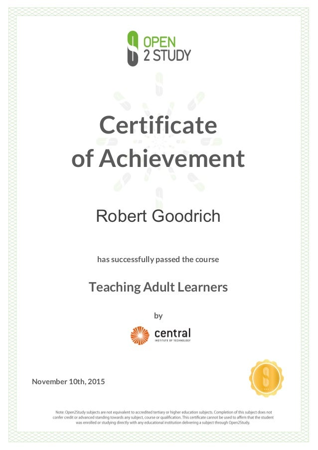 Teaching tool for adult learner