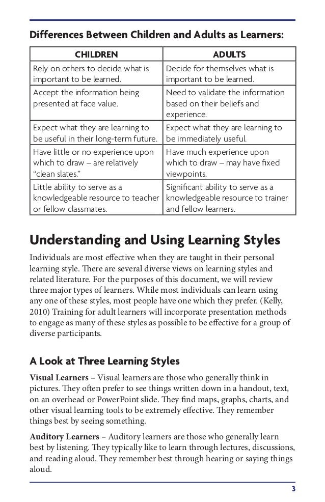 Teaching styles adapted for adult learners