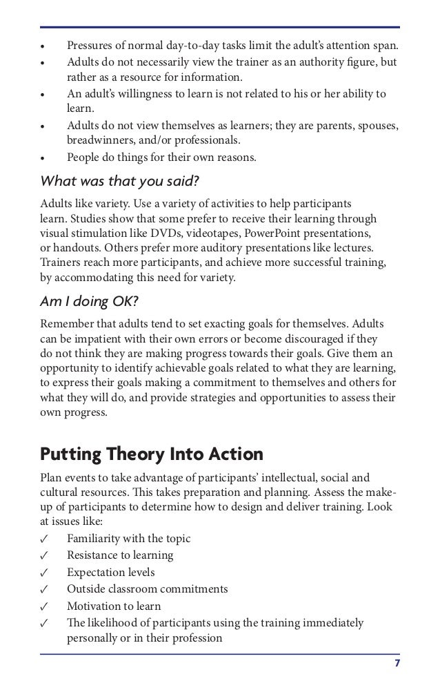 Motivation styles for adult learners