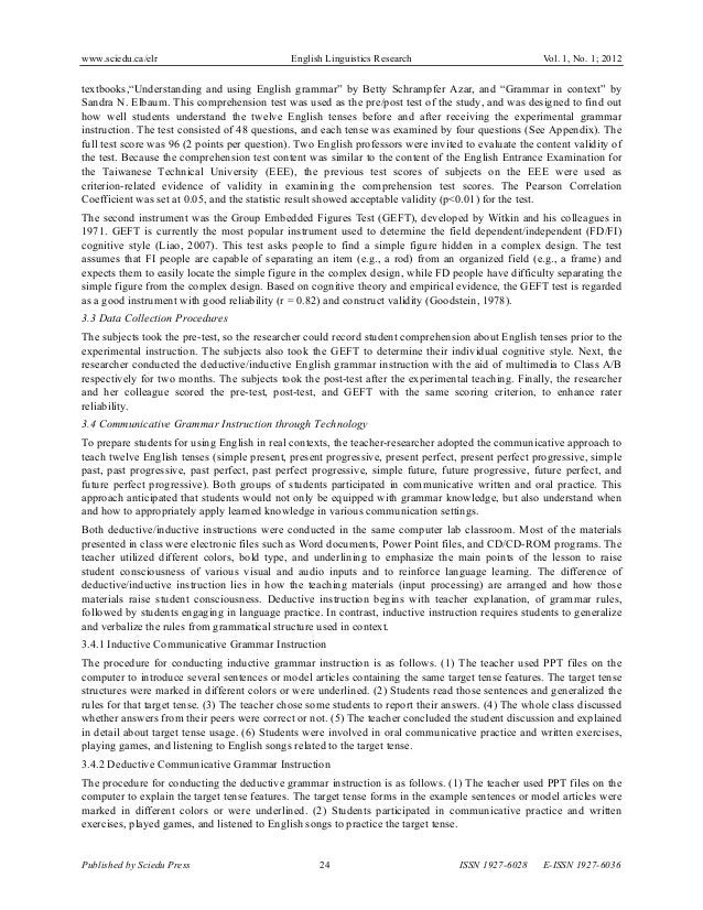 deductive approach in teaching grammar pdf