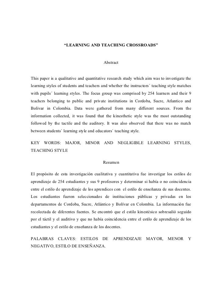 Research paper on teaching and learning