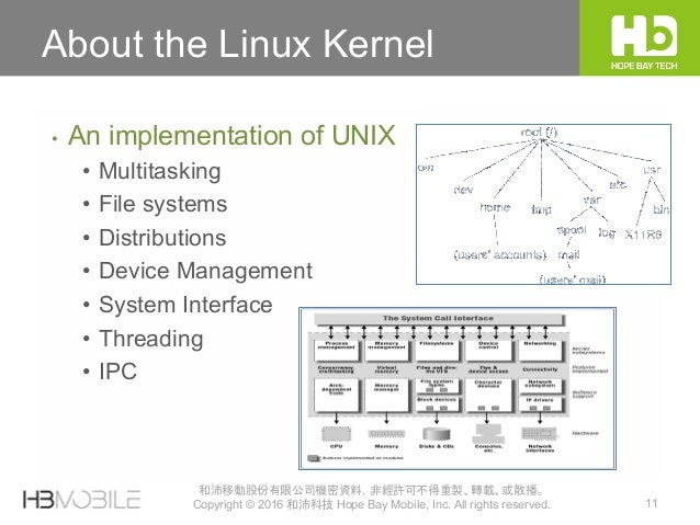 11 和沛移動股份有限公司機密資料,非經許可不得重製、轉載、或散播。 Copyright © 2016 和沛科技 Hope Bay Mobile, Inc. All rights reserved. About the Linux Kernel...