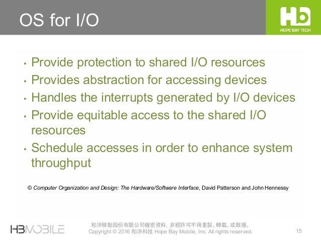 15 和沛移動股份有限公司機密資料,非經許可不得重製、轉載、或散播。 Copyright © 2016 和沛科技 Hope Bay Mobile, Inc. All rights reserved. OS for I/O • Provide p...
