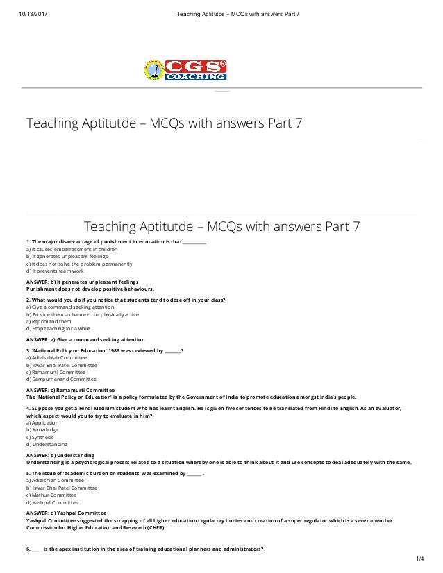 Teaching aptitutde MCQs with answers part 7 DSSSB PRT