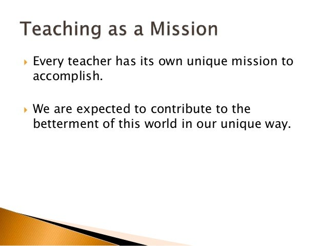 Teaching as a Vocation, Mission and Profession