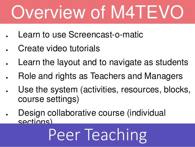 ● Learn to use Screencast-o-matic ● Create video tutorials ● Learn the layout and to navigate as students ● Role and right...