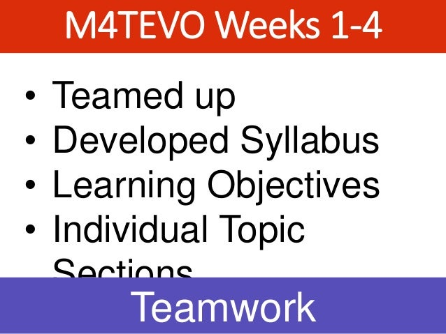 M4TEVO Weeks 1-4 • Teamed up • Developed Syllabus • Learning Objectives • Individual Topic Sections Teamwork