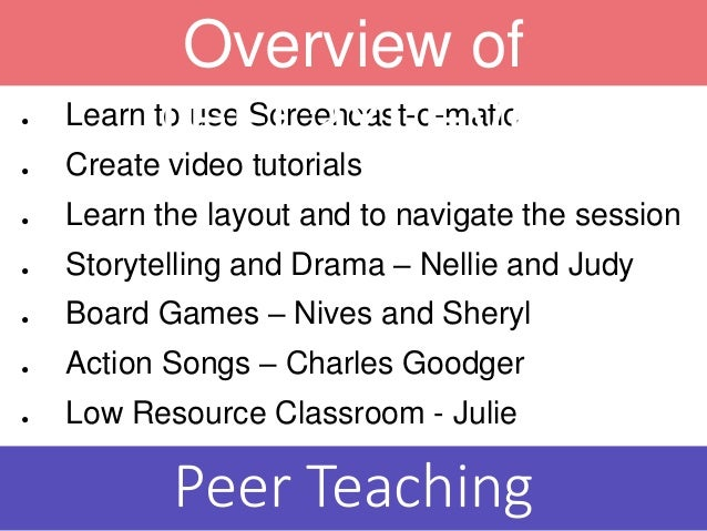 ● Learn to use Screencast-o-matic ● Create video tutorials ● Learn the layout and to navigate the session ● Storytelling a...