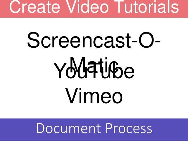 Create Video Tutorials YouTube Vimeo Screencast-O- Matic Document Process