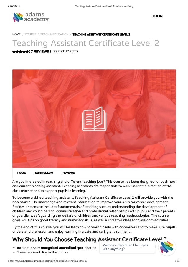 teaching assistant certificate level 2 - adams academy