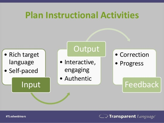 Plan Instructional Activities #TLedwebinars • Rich target language • Self-paced Input • Interactive, engaging • Authentic ...