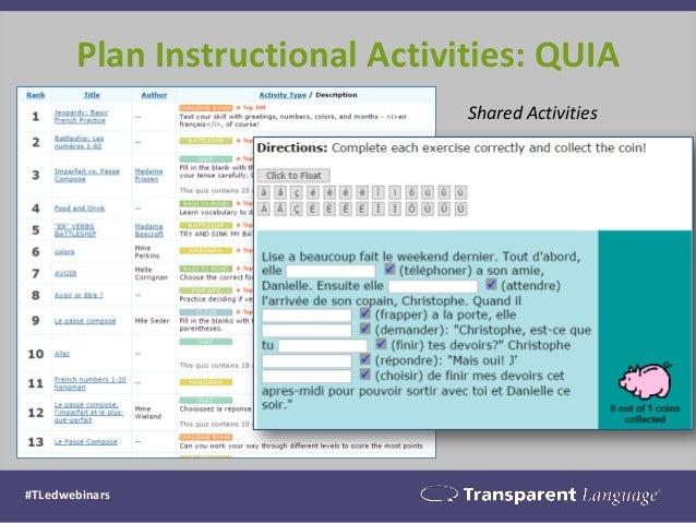 Plan Instructional Activities: QUIA #TLedwebinars Shared Activities