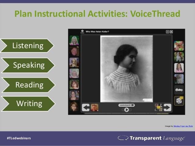 Plan Instructional Activities: VoiceThread #TLedwebinars Image by Wesley Fryer via Flickr Listening Speaking Reading Writi...