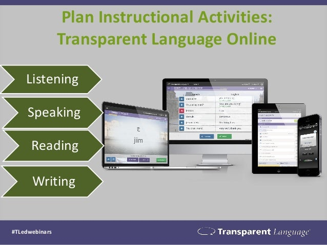 Plan Instructional Activities: Transparent Language Online #TLedwebinars Listening Speaking Reading Writing