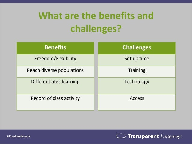 What are the benefits and challenges? #TLedwebinars Benefits Freedom/Flexibility Reach diverse populations Differentiates ...