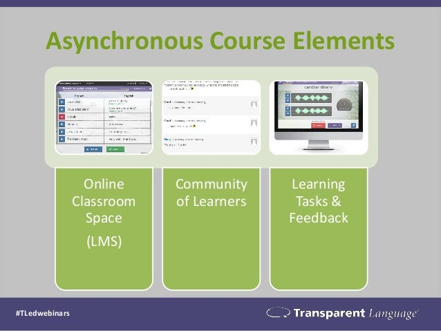 Asynchronous Course Elements #TLedwebinars Online Classroom Space (LMS) Community of Learners Learning Tasks & Feedback