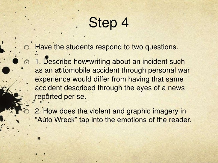 auto wreck by karl shapiro Start studying auto wreck learn vocabulary, terms, and more with flashcards, games, and other study tools search create log in sign karl shapiro: pulitzer.