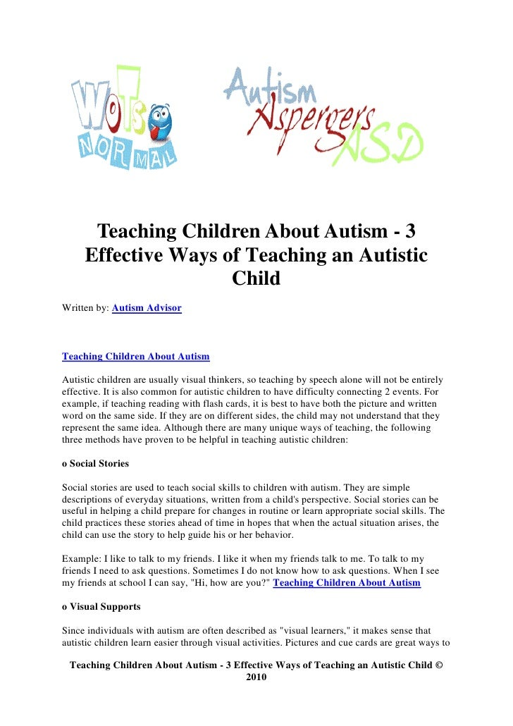 Teaching Children About Autism - 3      Effective Ways of Teaching an Autistic                      Child Written by: Auti...