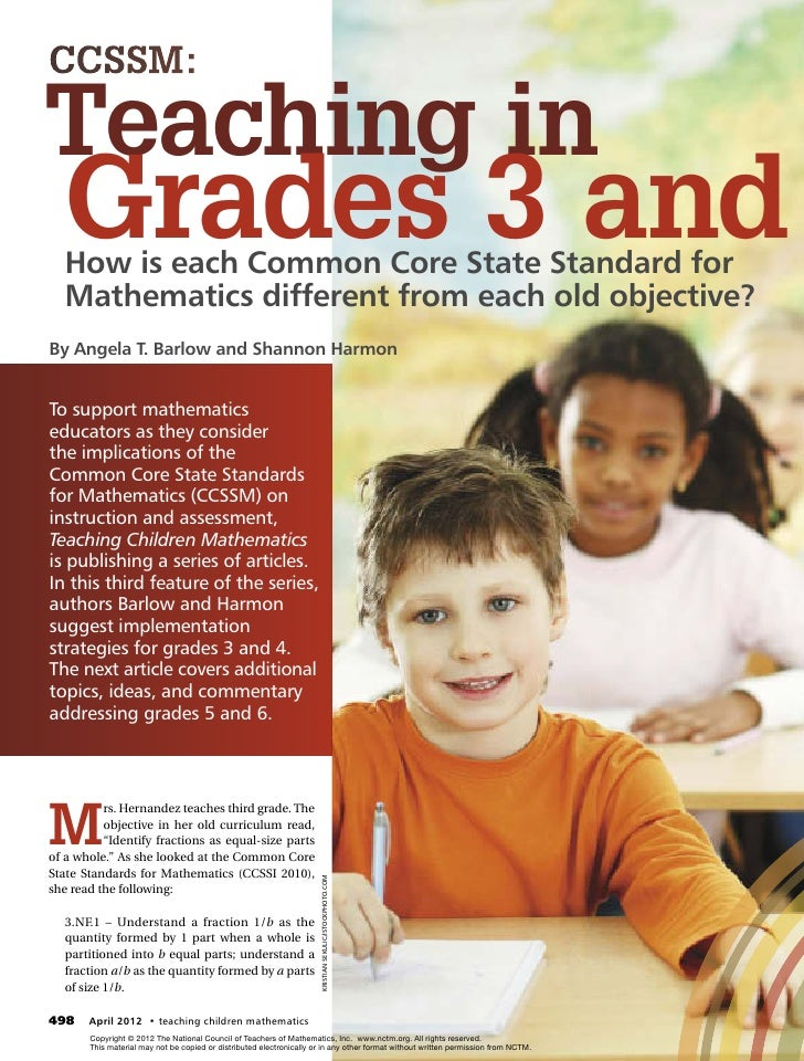 CCSSM:Teaching in   Grades 3 and   How is each Common Core State Standard for   Mathematics different from each old object...
