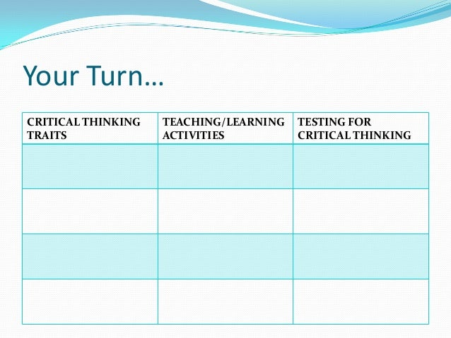 strategies for teaching critical thinking bonnie potts References elder, 2008 elder, l (2008) a professional development model for k-12 schools: critical thinking as the key to substantive learning.
