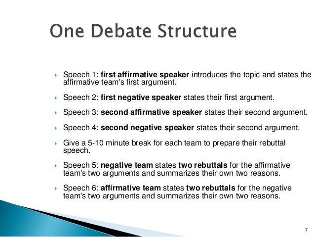 Teaching debate skills for First speaker debate template