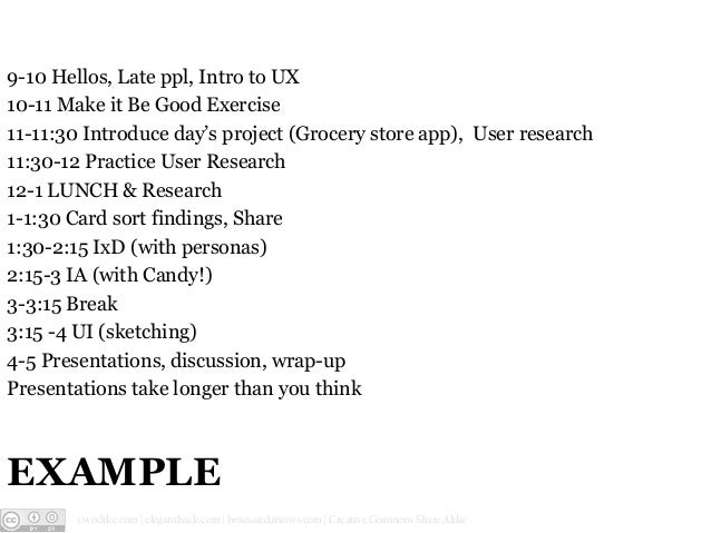 9-10 Hellos, Late ppl, Intro to UX 10-11 Make it Be Good Exercise 11-11:30 Introduce day's project (Grocery store app), Us...