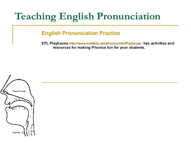 thesis teaching english pronunciation This thesis discusses the teaching of english pronunciation in primary schools in italy the first part presents some theoretical aspects: the importance of pronunciation, the factors that affect the learning of pronunciation, the characteristics of.