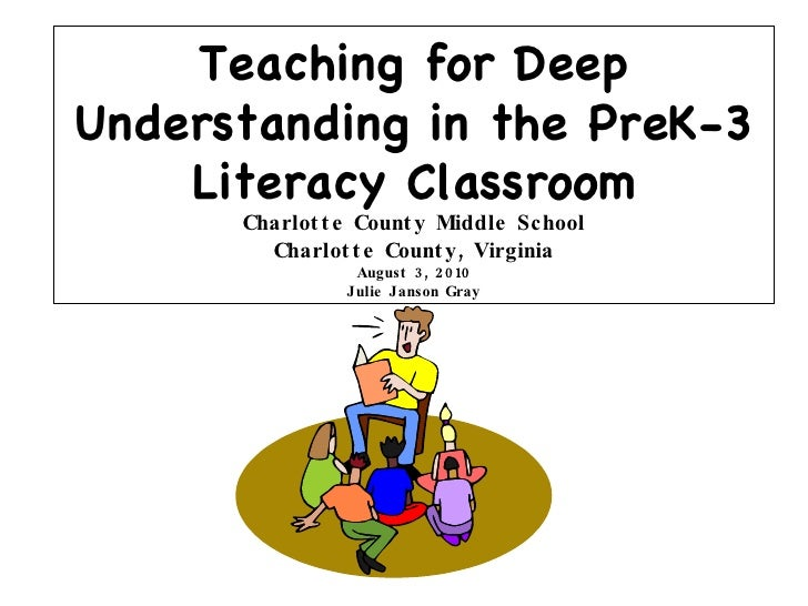 Teaching for Deep Understanding in the PreK-3 Literacy Classroom Charlotte County Middle School Charlotte County, Virginia...