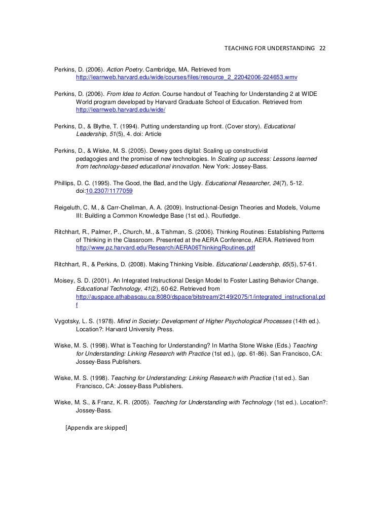 Teaching For Understanding Framework In Practice