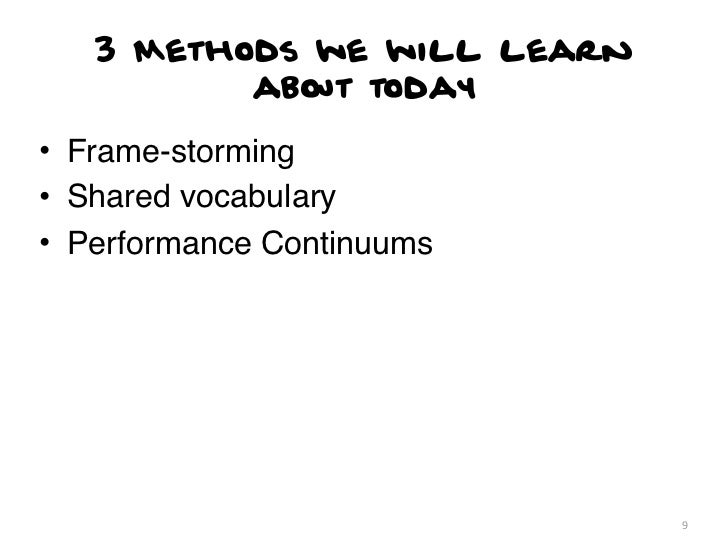 3 Methods we will learn          about today• Frame-storming• Shared vocabulary• Performance Continuums                   ...